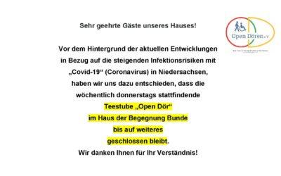 """Schließung Teestube """"Open Dör"""""""